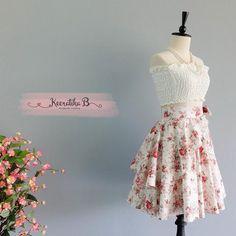Summer's Whisper Floral Skirt Spring Summer Sweet White Red Floral Skirt Party Cocktail Skirt Wedding Bridesmaid Skirt White Floral Skirts