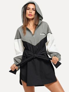 Casual Sweatshirt Colorblock and Embroidery and Knot Letter Shift Straight Hooded Long Sleeve Natural Multicolor Short Length Color-block Knot Front Hooded Dress Cute Fashion, Boho Fashion, Fashion Outfits, Fall Fashion, Casual Dresses, Casual Outfits, Hooded Dress, Velvet Fashion, Sporty Style