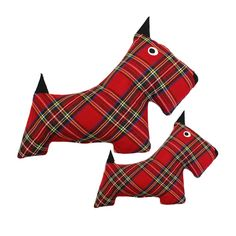In adorable plaid, our Scottie Dog Toys have classic appeal. This durable dog toy can withstand hours of tug and toss play and is stuffed until perfectly plump with eco-friendly fiberfill made from recycled plastic bottles. Aye! Yer dug will love it! Available to ship November 8th, 2013 Small Scottie Dog Toy 7'' Large Scottie Dog Toy 11'' $0.00