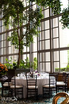 The Garden Room at the Fairmont Olympic Seattle Wedding at purple wedding flowers, Flora Nova, Ethereal Events, by Seattle wedding photographer Laura Marchbanks Photography
