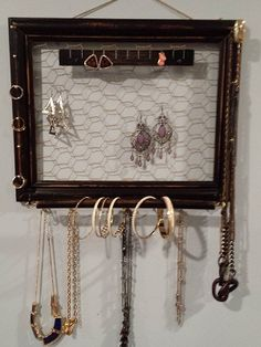 ideas for wood jewelry holder wall mount Jewelry Holder Wall, Wall Mount Jewelry Organizer, Jewelry Wall, Hanging Jewelry Organizer, Jewelry Armoire, Wall Organization, Jewelry Organization, Bridal Shower Gifts, Bridal Gifts