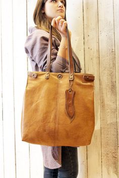 "Handmade Italian Vintage Leather Tote with pachwork ""BANG Bag shopper "" di LaSellerieLimited su Etsy"
