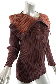 b64bc0319362 Burgundy Pleats Please Rust Polyester Crinkle Jacket. Issey MiyakeSpring ...