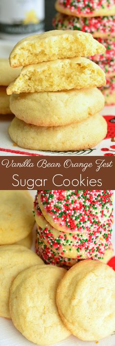 Simple sugar cookies with an amazing flavor! These soft and chewy sugar cookies are made with vanilla bean and orange zest. Orange and vanilla flavors in these cookies is exquisite. Cookie Desserts, Fun Desserts, Delicious Desserts, Cooking Cookies, Yummy Food, Cupcake Recipes, Baking Recipes, Dessert Recipes, Chewy Sugar Cookies