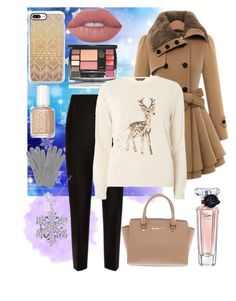 """""""Baby It's Cold Outside"""" by ekjohnson1216 on Polyvore featuring Jaeger, Michael Kors, L.K.Bennett, Casetify, Lime Crime, Essie, Lancôme and Dorothy Perkins"""
