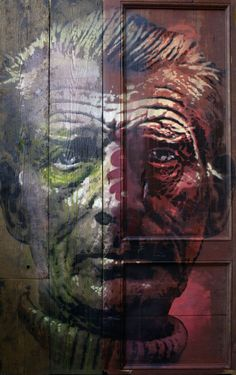 ORTICANOODLES, Portrait of Samuel Beckett, Stencil on found object, 105x170 cm,  2013 [SOLD]