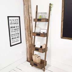These ladder box shelves offer a great alternative to traditional shelving With their blackboard plaques thay not only look fab they take up