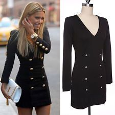 Fashion Women V-Neck Long Sleeve Double Button Slim Waist Bodycon Casual Dress