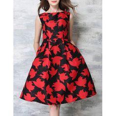 Stylish Round Neck Sleeveless Printed Women's Dress