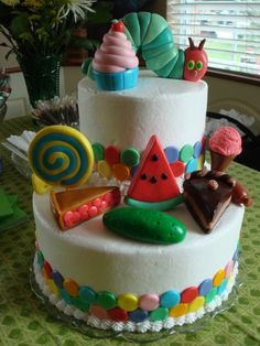 """The Very Hungry Caterpillar cake! Maybe a """"piece of chocolate cake"""" for the smash cake? Pretty Cakes, Cute Cakes, Hungry Caterpillar Cake, Occasion Cakes, Creative Cakes, Cake Creations, Celebration Cakes, Let Them Eat Cake, Amazing Cakes"""