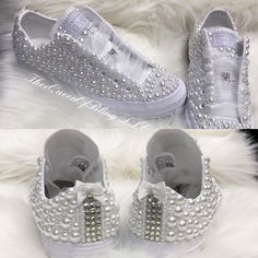 Custom Wedding pearl converse with bows !! Bridal converse a1052de69