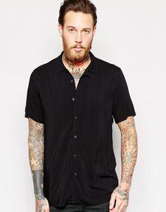 ASOS+Black+Shirt+In+Viscose+With+Revere+Collar+in+Regular+Fit
