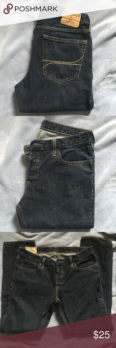Hollister skinny jeans Awesome pair of skinny jeans from hollister in a medium to dark wash. Size is a 34 waist and a 32 length. It has 5 pockets with belt button loops, button fly, and button closure. Only worn a couple of times! Hollister Jeans Skinny