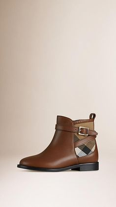 Burberry Chestnut House Check Panel Leather Ankle Boots - Ankle boots in smooth leather with House check cotton panel detail Buckled ankle strap and leather pull tab. Discover the childrenswear collection at Burberry.com