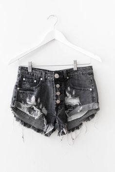Black Button Up Denim Shorts