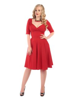 Swoosh around this coming season in the perfect swing dress, the Trixie Doll Dress! Made in figure flattering stretch bengaline that ensures a smooth silhouette, the Trixie Doll is a versatile frock perfect to bring you from daytime wear right into the evening. Featuring a fold over detail to the bust line as well as gathering detail that's reminiscent of the 1940s, and with a full swing skirt. Trixie is ideal for dressing up or down with either flats or heels.