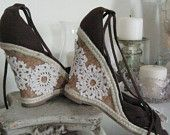 French Sugar Parisian Upcycled Hippie/Boho Dark Chocolate Canvas Espadrille Shoes Embellished with Vintage Lace - Altered Couture