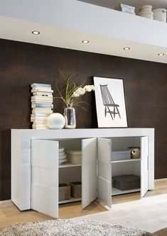 Napoli Four Door Sideboard - Gloss White/Grey Finish (Sideboards & display cabinet) | image 2