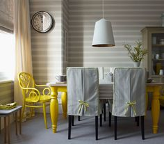 Looking for modern dining room design ideas? Take a look at this modern dining room from Homes & Gardens for inspiration. For more dining room ideas, such as how to decorate with bold colours, visit our dining room galleries Tiny Dining Rooms, Yellow Dining Room, Small Dining, Dining Room Design, Dining Room Chairs, Yellow Table, Dining Table, Kitchen Chairs, Dining Set