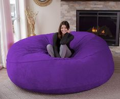 Chill Sack Bean Bag Chair: Giant 8' Memory Foam Furniture Bean Bag - Big Sofa with Soft Micro Fiber Cover - Purple Furry #CuteGiftIdeas #Gift #LazySofa