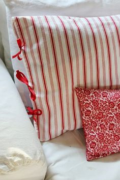 Pillow Closure Ideas: red ticking and lace pillowcases by MyThymeCreations on Etsy    ,