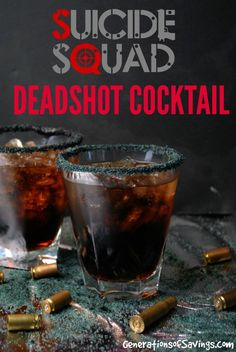 Suicide Squad Inspired Deadshot Cocktail Recipe for the upcoming movie. Delicious cocktail recipe made with a movie theme! Suicide Squad Inspired Deadshot Cocktail Recipe for the upcoming movie. Delicious cocktail recipe made with a movie theme! Liquor Drinks, Non Alcoholic Drinks, Cocktail Drinks, Cocktail Recipes, Beverages, Bourbon Drinks, Licor Baileys, Comida Diy, Alcohol Drink Recipes