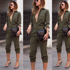 ⚫️chic military jumpsuit⚫️ A gorgeous military jumpsuit, long sleeve, front button up with pockets, pants and sleeves are full length, model is wearing it rolled up. adjustable waist belt buckle like for a looser or tighter waist. Dress it up or down!!! So chic!!  20% bundles of 2-4. Bundles of 5 or more get an additional 5% discount! Contact me as I would have to put a bundle together for you. 1-2 day shipping.   All items are brand new in an unopened original sealed bag. All of my items…