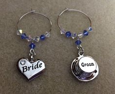 Wine Glass Charms - Bride and Groom - Top Hat and Heart - Wedding Favours - Top Table Decorations - Bridal Party by Makewithlovecrafts on Etsy Blue Wedding, Wedding Table, Guest Gifts, Wine Glass Charms, Wine Parties, Swarovski Pearls, Organza Bags, Wedding Favours, Bridal Accessories