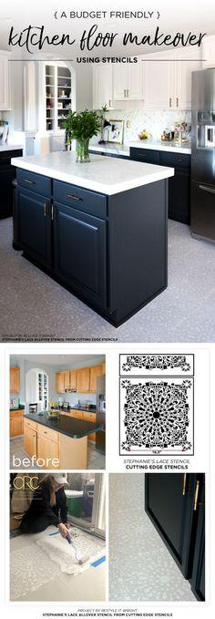 A Budget Friendly Kitchen Floor Makeover Using Stencils