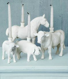 Toy plastic animal candle holders