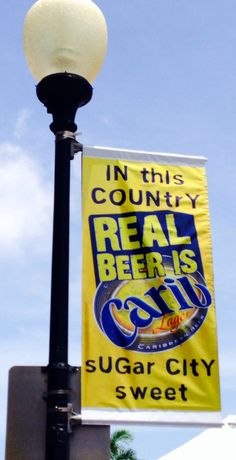 Sign for local Caribbean beer in Basseterre, capital of St Kitts