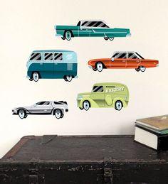 Auto Muurstickers voor Jongens, 5 Stoere Auto's voor op de muur. Herplakbaar..  - Kinderkapstok, kinderlampen, Kinderkamer-Accessoires en Muurstickers bij Dreumes enZo alles voor de Kinderkamer of Babykamer.