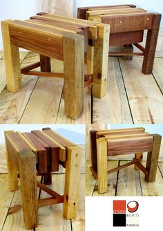 interesting stools from deconstructed pallets...scrap wood