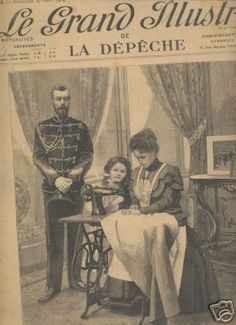 An illustration on the cover of a French magazine of Alexandra Feodorvna using a treadle sewing machine while Nicholas and Olga look on, probably around 1899.