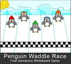Free - Penguin Waddle Race: A fun, whole class game for the interactive whiteboard. Class Games, School Games, Whiteboard Games, Smart Board Activities, I Love School, Polaroid, Interactive Whiteboard, Kitty Games, Classroom Games
