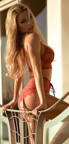 Blonde girls lingerie sexy in red