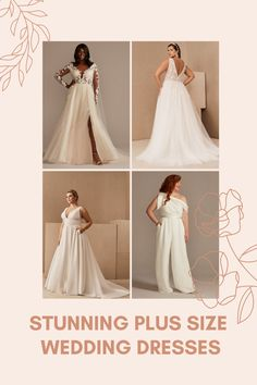 A curated collection of our favorite plus size wedding dresses for brides including gowns by BHLDN, David's Bridal, and more! Plus Size Wedding Gowns, Long Wedding Dresses, Boho Wedding Dress, Long Sleeve Wedding, Wedding Dress Sleeves, Samantha Wedding, Elegant Ball Gowns, Wedding Jumpsuit, Romantic Lace
