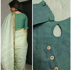 Shades of green make me a happy girl. I am so very glad with this blouse. Sleeves + keyhole in the neck + surprise element at the… Cotton Saree Blouse Designs, Saree Blouse Patterns, Fancy Blouse Designs, Designer Blouse Patterns, Blouse Neck Designs, Kurta Designs, Blouse Styles, Designer Saree Blouses, Designer Dresses