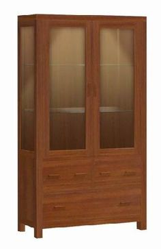 As-07 Vitrine Cabinet Expositora Three Drawers Two Glass Doors Teak Mahogany Wooden Furniture