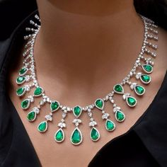 Pear-Shaped Emerald and Diamond Necklace