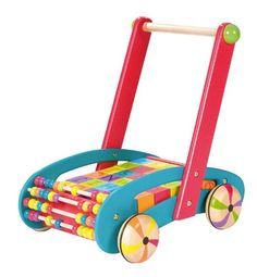 Janod Original ABC Buggy Baby Walker. Buggy comes with set of removable ABC blocks. Constructed from solid wood. Painted bright, fun colors. Designed in France by Janod. Great for ages 12 months and above.