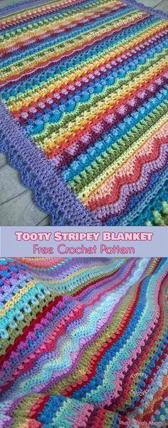 Tooty Stripey Baby Blanket Free Crochet Pattern #freecrochetpatterns #crochetblanket #babyblanket
