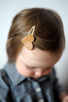 DIY Hair Accessories : DIY Leather Heart Hair Clips