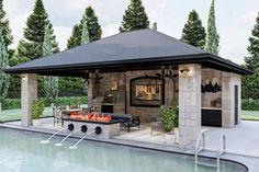 Pool House Designs, Backyard Pool Designs, Swimming Pools Backyard, Backyard Ideas, Modern Pool House, Modern Pools, Gazebo, Pergola, Living Pool