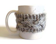 Mug Cozy Coffee Cozy Coffee Sleeve Cup Cozy Cable by MadebyMegShop, $15.00 #gray #marble #cupcozy #mugcozy #coffeesleeve #handknit #cableknit #buttoned #ecofriendly