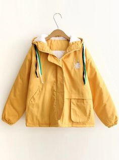 Buy Yellow Embroidery Quilted Hooded Coat With Pocket from abaday.com, FREE shipping Worldwide - Fashion Clothing, Latest Street Fashion At Abaday.com