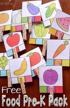 It's fun to learn about healthy foods with these free food printables for preschoolers! Lots of fruits and veggies!