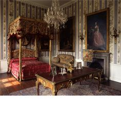 The South Bedroom at Temple Newsam. The room has a modern copy of the famous Stork wallpaper put up here in 1868 for the royal visit of the Prince of Wales. The Louis XVI state bed was made by Jean Baptiste Tilliard II.