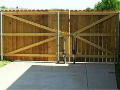 Wood Driveway Gate wheels | Big Country Fencing Company Showcase, Abilene, Texas(TX)