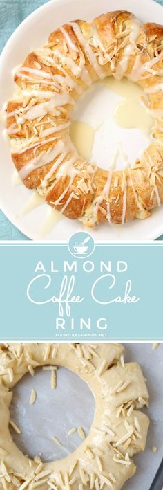 This Almond Coffee Cake Ring or tea ring is a slightly sweet yeast bread filled with almond paste and cream cheese and made into a wreath-shaped pastry. It's baked until golden and then drizzled with icing. This recipe feeds a crowd and is perfect for brunch, and Christmas and Easter mornings.